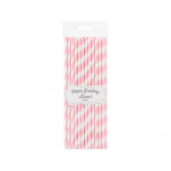 Słomki papierowe w różowe paski