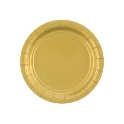Talerzyki papierowe złote 18cm