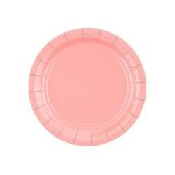 Talerzyki papierowe różowe 18cm
