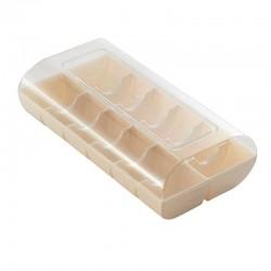 Opakowanie na makaroniki, pudełko z tworzywa na 12 makaroników ECRU Silikomart