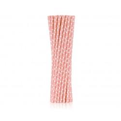 Słomki różowe w białe groszki 250szt.
